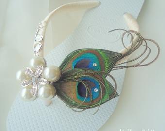 Havaianas flip flops- peacock love birds Bridal sandal. SWAROVSKI Crystals,Love birds & StarFish Button. Must Have Collection-love bird-01
