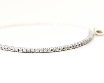 Wedding Bangle, Silver Rhinestone Bracelet, Cubic Zirconia Bangle, Thin Bracelet, Bridal Silver Bangle Bracelets
