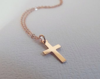 Rose Gold Cross Necklace 14k gold filled dainty jewelry tiny cross gift Minimalist