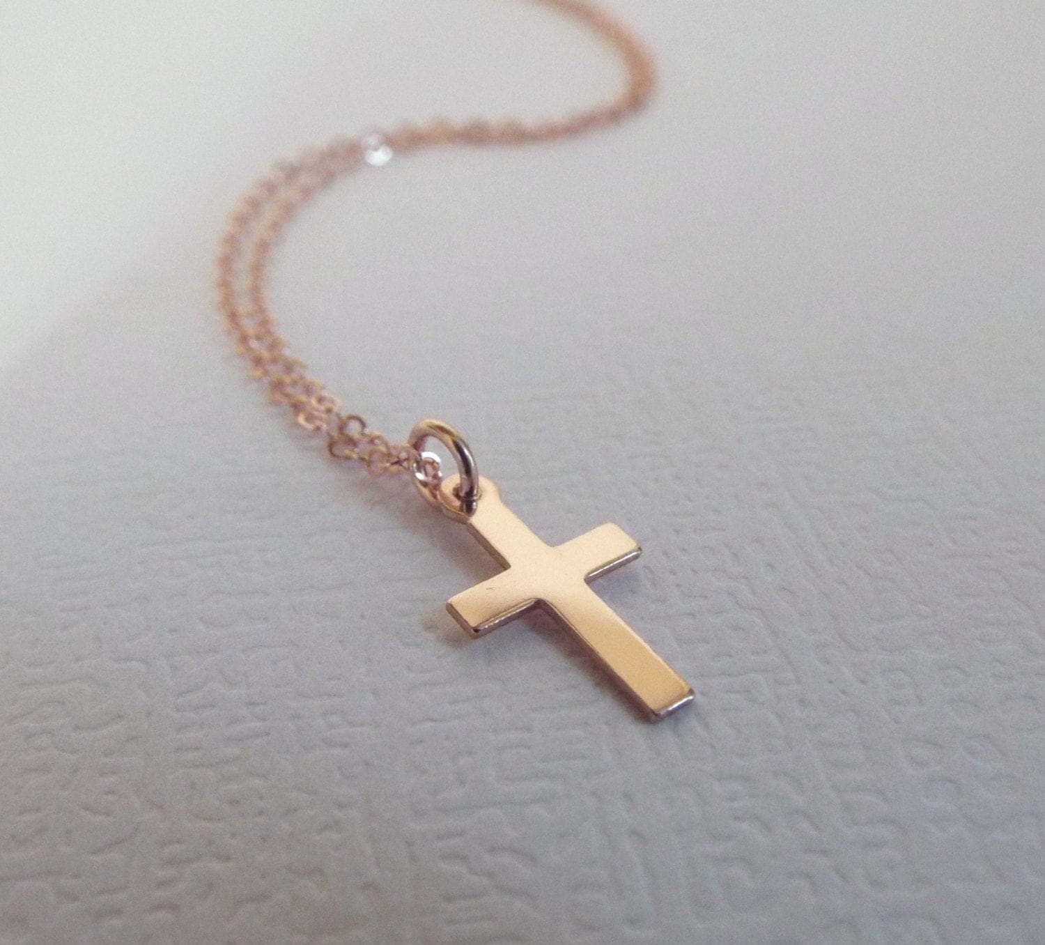 rose gold cross necklace 14k gold filled dainty jewelry tiny. Black Bedroom Furniture Sets. Home Design Ideas