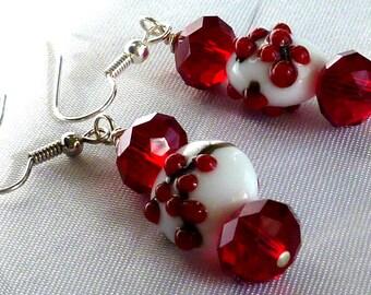 Red & white holly lampwork earrings dangle earrings