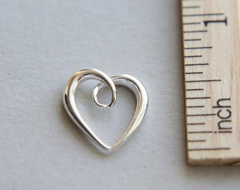 Sterling Silver Heart Charm, 925 Sterling Silver Charm, Heart Charm, Cut Out Heart Charm, Open Heart Charm, 14mm ( 1 piece )