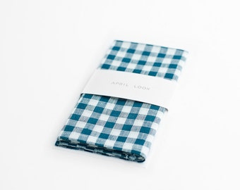 Gingham pocket square, teal checkered handkerchief