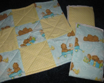 2 Burp Cloths and Quilted Binky Security Lovie Blanket
