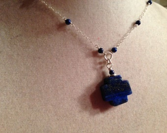 Lapis Necklace - Navy Blue Jewellery - Sterling Silver Jewelry - Gemstone - Celtic Cross Pendant - Fashion - Chic - Chain