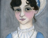 Jane Austen Literary Portrait Print, Writers Illustration (6x8)