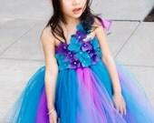 Flower girl dress.Purple and Teal TuTu Dress.Mix color tutu dress.clothing.baby tutu.baby tutu dress, toddler tutu dress, wedding, birthday,