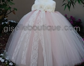 Flower Girl Dress. Mix Blush Pink and Ivory TuTu Dress .baby tutu dress, toddler tutu dress, wedding, birthday