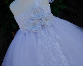 All White with Handmade Flowers TuTu Derss. White flower girls tutu dress. White dress.Wedding. Birthday