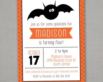 Halloween Birthday Invitation -- Spooky Bat