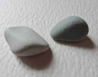 Pair of grey sea pottery pieces - Lovely English beach find pieces