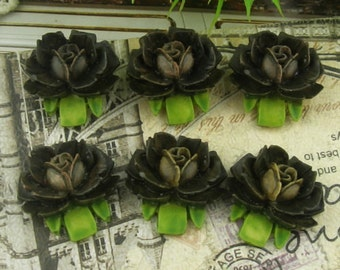 6 Pcs  Beautiful  Rose Cabochon Black - Hand Painted(B05)
