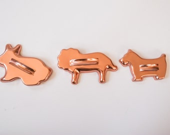 Assortment of Three Metal Cookie Cutters Bunny Rabbit Scottie Dog Lion Shapes