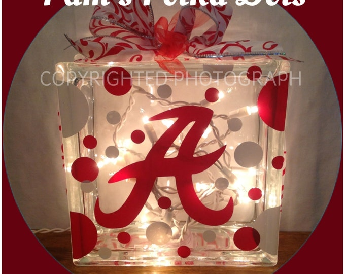 UNIVERSITY of ALABAMA Lighted GLASS Block Roll Tide with Polka Dots & Ribbon Great for Mantle Mantle Entryway Shelf Home Decor