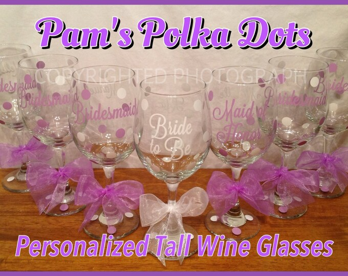 Personalized WEDDING PARTY Wine GLASSES for Bride Bridesmaids Maid Matron of Honor Mother of Bride Groom Bridal Party Bachelorette