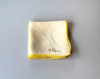 Vintage Vera Sheer Scarf - Yellow / Black Modern Butterfly
