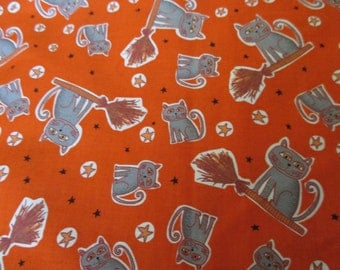 SALE one yard cats on brooms fabric