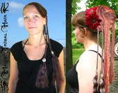 FANTASY Clip in braided HAIR PIECE with belly dance buttons Larp Renfaire extensions Custom color hair falls Reenactment medieval Gothic