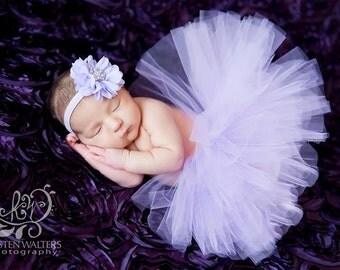 3-6 Months Tutu, Baby Girls, Lavender Purple, Flower Headband, Matching Set, Ready To Ship, Photo Prop