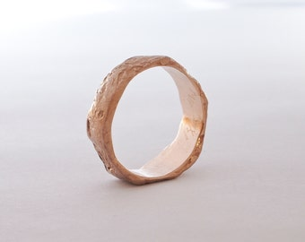 Rustic Mens and Womens matching Wedding Band set. 14k recycled yellow gold wedding band. White gold, sterling silver. Rough uneven, ancient