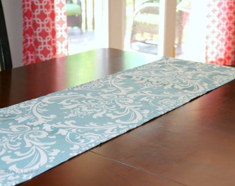 CLEARANCE Damask Table Runner, Village Blue Ozborne Kitchen Decor, Dining Room Table Topper, Wedding Decor, Blue Runner, 13x84 Buffet Runner