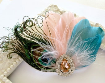 Wedding Feather Hair Accessories, Feather Fascinator, Bridal, Hair Accessory, 1920s, Peacock, Peach, Teal, Ivory, Apricot, Hair Clip