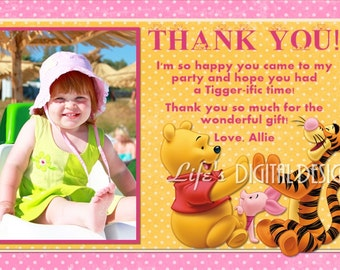 Winnie the Pooh Thank You Card Photo Option Light Pink Customizable Printable