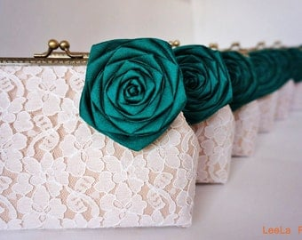 Emerald green Wedding / 7 * Bridesmaid Clutches / Bridal Party / You Choose The Color Flower and Lining