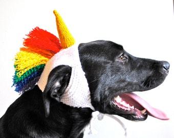 Unicorn Dog Costume with Rainbow Mane - Hand Knit Dog Hat - Dog Halloween Costume - Custom Sizing