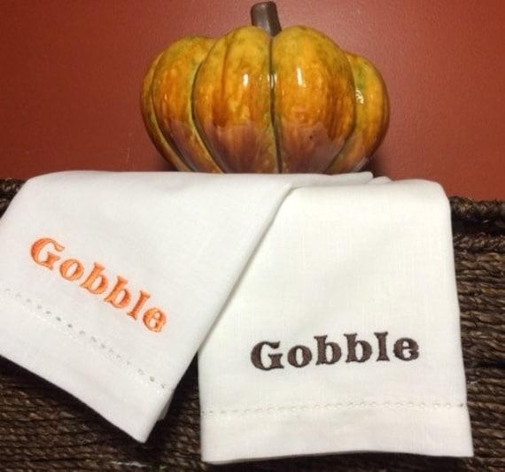 """Thanksgiving """"Gobble""""  Cloth Dinner Napkins, gobble napkins, thanksgiving cloth napkins, thanksgiving table, gobble cloth napkins"""