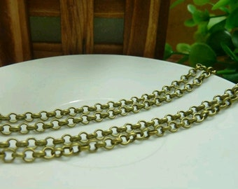 16 Feet  3.8mm Vintage Bronze Plated Brass Twisted Cross Chains E1042