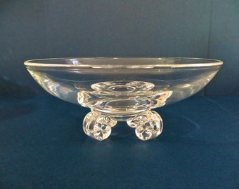 Steuben Glass Footed Dish Steuben Crystal Bowl Glass Bowl Scroll Footed Bowl John Dreves #7967 8