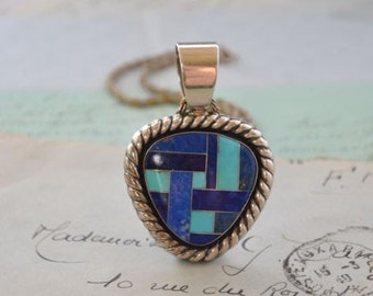 Lapis and Turquoise Inlay Sterling Necklace