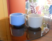 Two restaurant ware coffee cups or mugs, 1930s?, sky blue and beige or tan, Caribe and Buffalo China