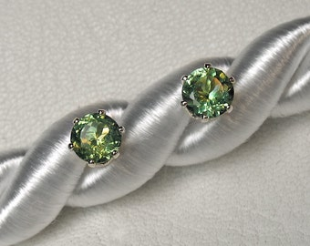 Green Apatite Earrings in Silver or Gold, 5 mm