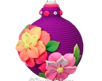 Tropical flowers polymer clay ornament
