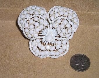 Vintage Weiss Flower Brooch Milk White Glass Stones Enamel 1960's Signed Jewelry 2072