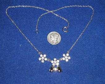 Vintage Signed D'or Sterling Silver Necklace With Crystal Rhinestones 1970's Jewelry 7088