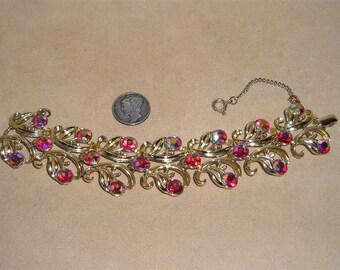 Vintage Red Iridescent Crystal Rhinestone Bracelet 1960's Jewelry H51