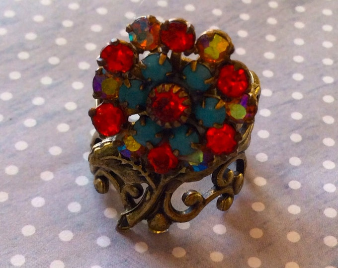Flower Ring, Rose Ring, Adjustable Ring, Rings For Women, Swarovski Crystal Ring, Jewelry Rings,  Vintage Ring