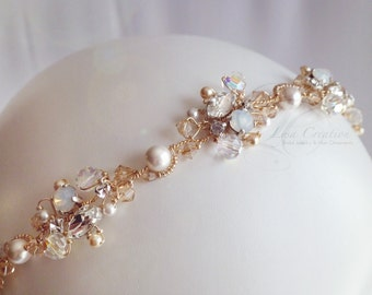 Opal and Gold Crystal Rhinestones Bridal Headband  - Sparkling Gold and White Wedding Crystal Head Piece
