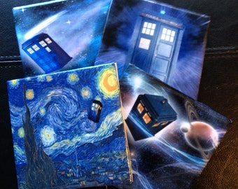 Dr Who / TARDIS Ceramic Tile Coasters Set of 4
