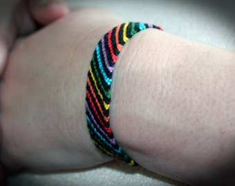 LGBT Gay and Lesbian Striped Rainbow Friendship Bracelet