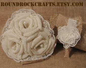 Burlap & Lace bouquet with matching boutonniere set