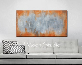 Painting Abstract Art Orange and Gray Large 48x24 Original Abstract Art