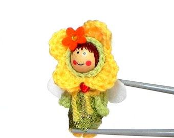 Green Yellow Flower Fairy MochiQtie Amigurumi - Mochi size crochet mini stuffed toy doll - Crochet Amigurumi art doll