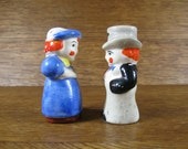 Salt & Pepper Shakers Short Man and Woman Couple with Rosy Cheeks Ceramic Vintage Japan