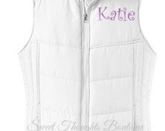 Monogrammed Puffy Vest, Personalized Puffy Vest, Quilted Vest, Winter Vest, Monogrammed Ladies Puffy Vest, Preppy Vest, Womens Puffy Vest