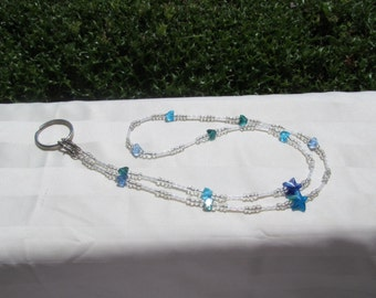 Beaded ID Badge Lanyard Necklace Clear Aqua Blue Glass Star Crystals