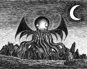 The Call of Cthulhu- A3 art print by Jon Turner- geeky HP Lovecraft pen and ink artwork
